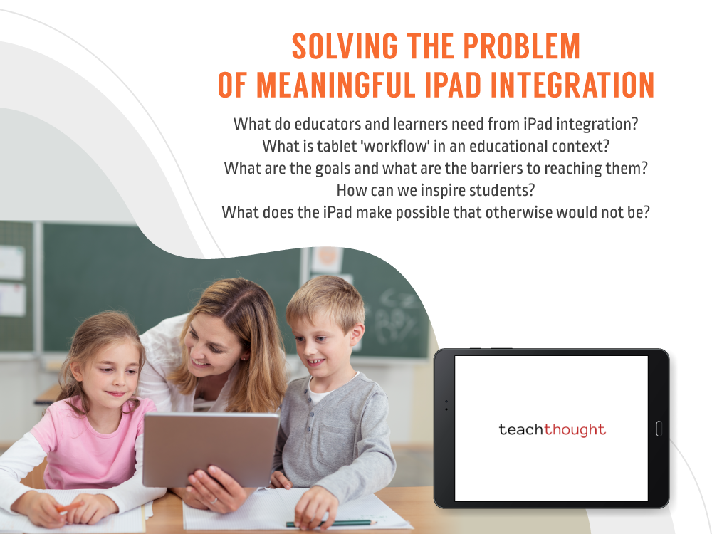 image of teacher assisting two children on iPad