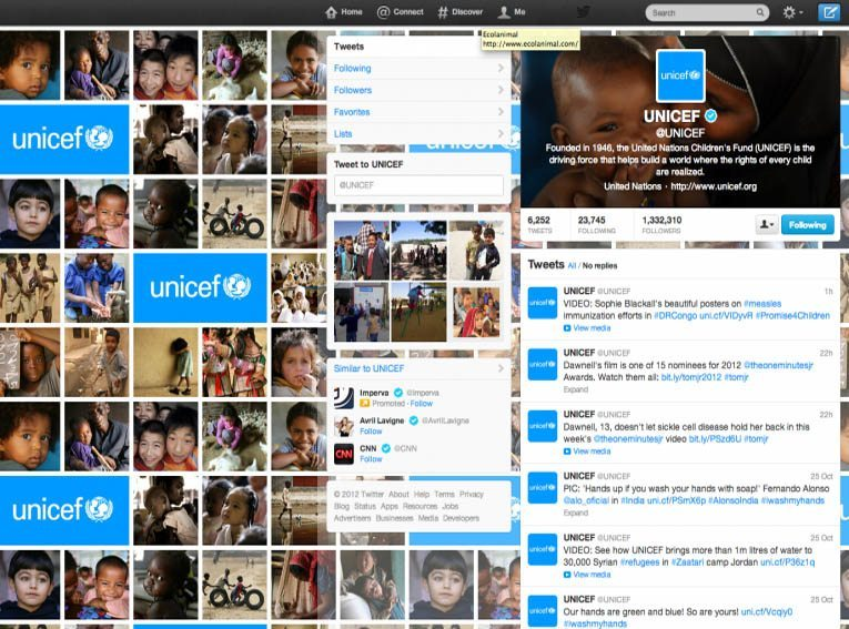 unicef-twitter-page
