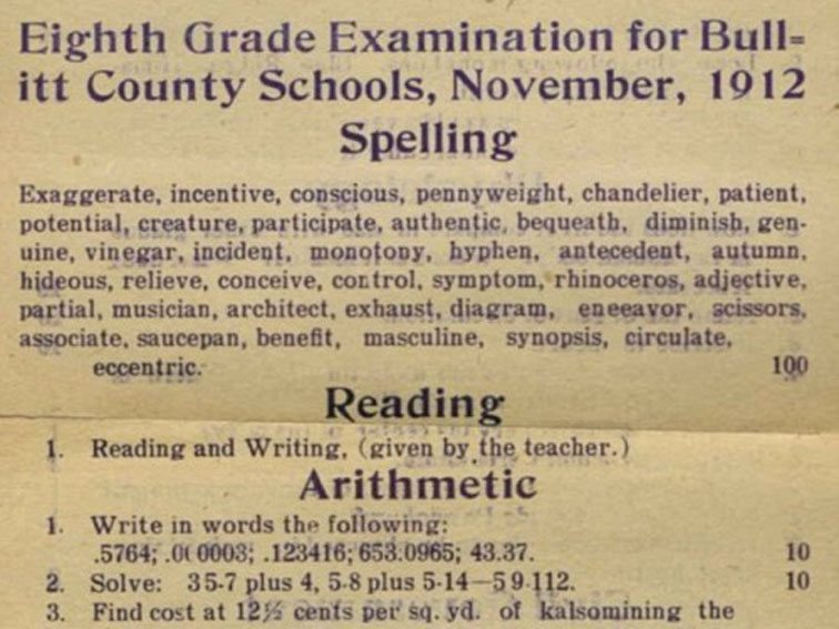What An 8th Grader Was Expected To Know In 1912