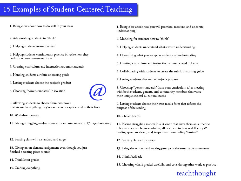 examples of student centered teaching