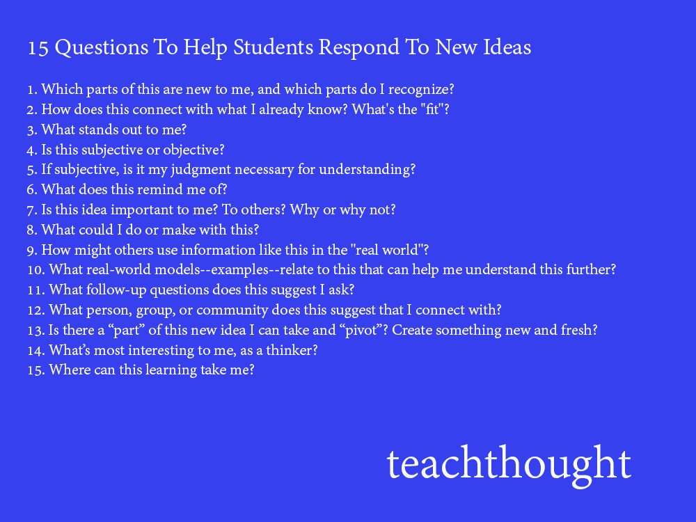 15 Questions To Ask When Introducing New Content To Students