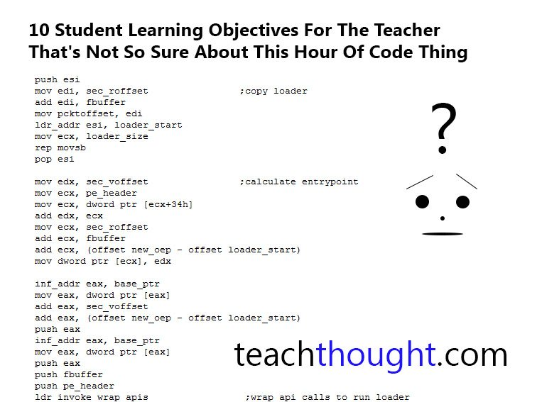 10 Student Learning Objectives For The Teacher Not So Sure About This Hour Of Code Thing