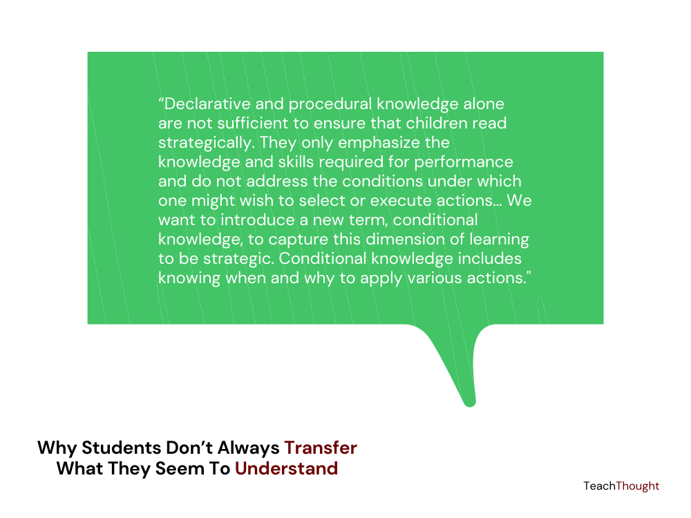Why Students Don't Always Transfer What They Seem To Understand