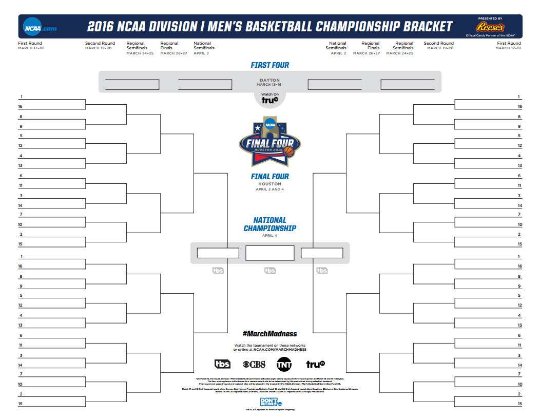 Download Your Official 2016 NCAA Bracket PDF Here! -