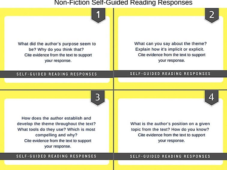 15 Self-Guided Reading Responses For Non-Fiction Texts