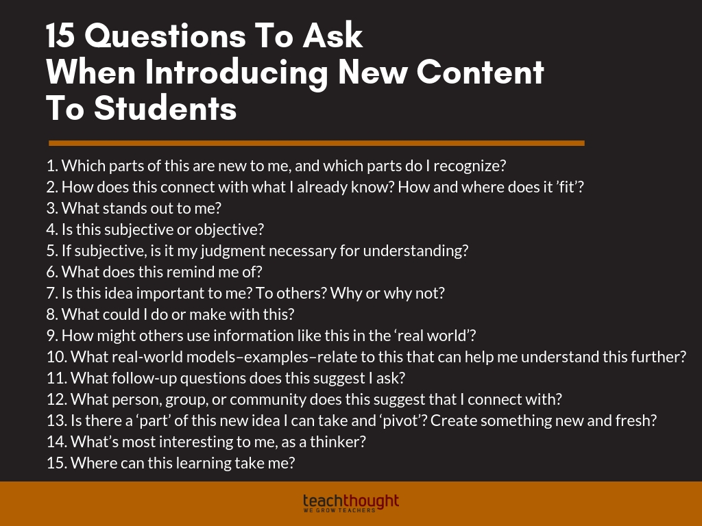 15 Questions Students Can Ask Themselves When Learning New Content