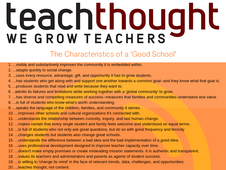 the characteristics of a good school