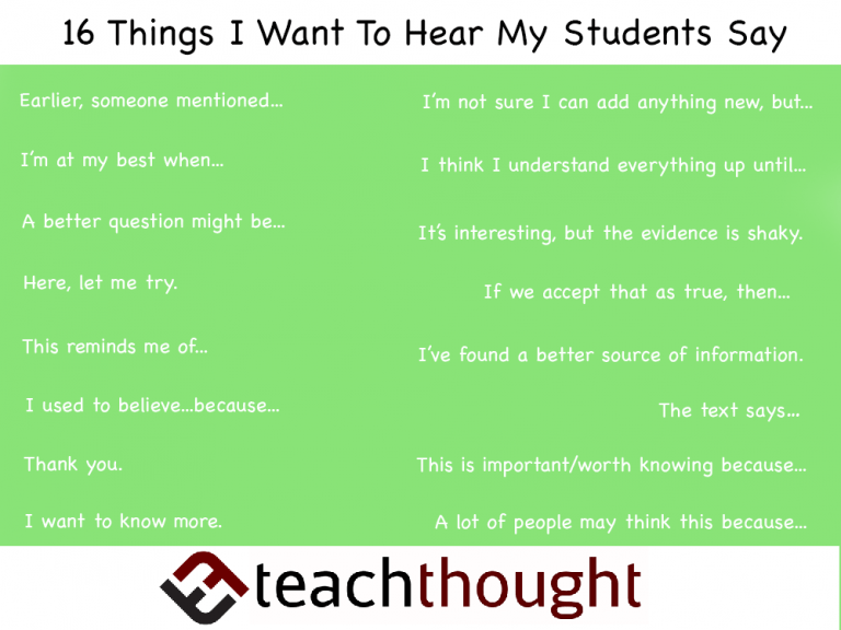16 Things I Want To Hear My Students Say