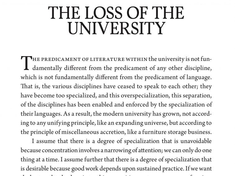 Example Of Thesis Statement In An Essay Wendell Berry And The Loss Of The University Healthy Eating Essays also Personal Essay Thesis Statement Examples Wendell Berry And The Loss Of The University  What Is Thesis Statement In Essay