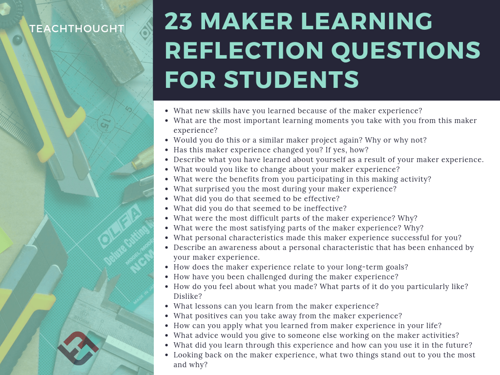 23 maker learning reflection questions for students