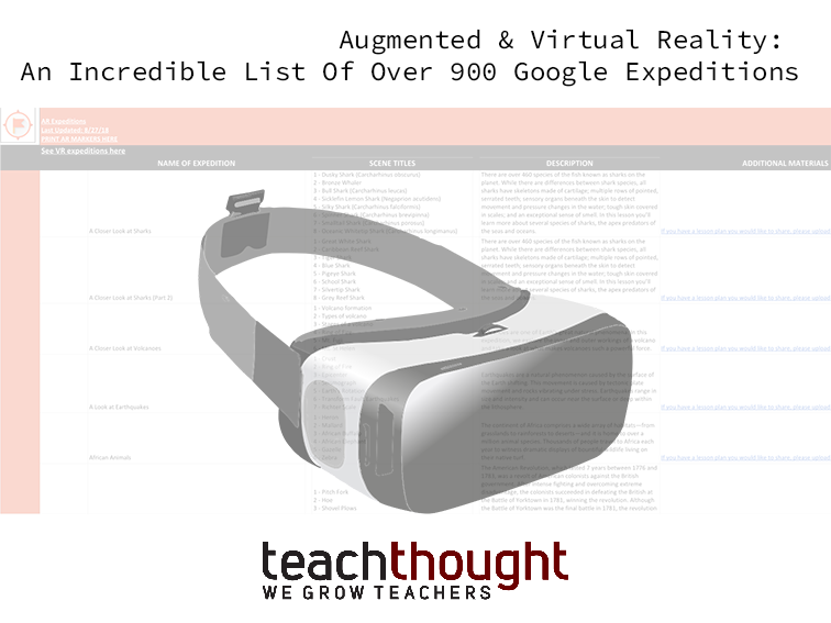 b119a22427 Augmented And Virtual Reality  An Incredible List Of Over 900 Google  Expeditions!