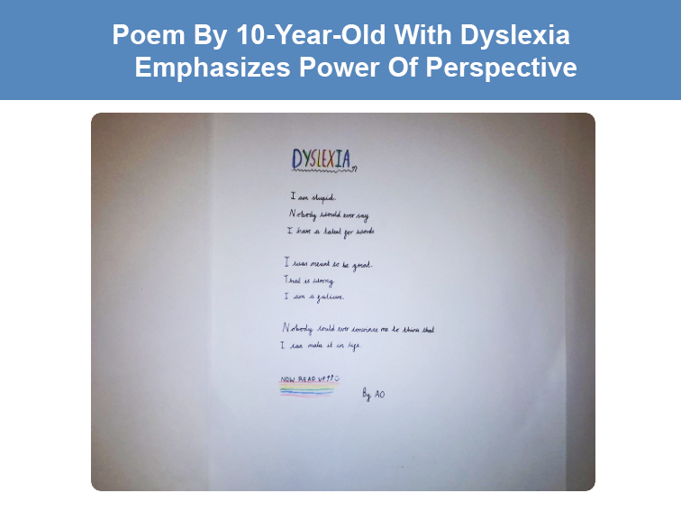 Poem From 10-Year-Old Dyslexic Student Emphasizes Power Of