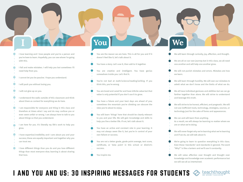 I And You And Us: 30 Inspiring Messages For Students -