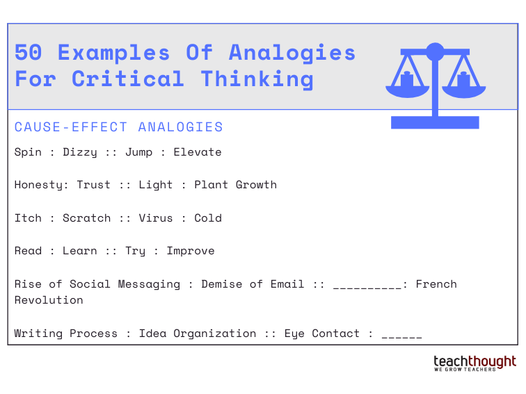 50 Examples Of Analogies For Critical Thinking -