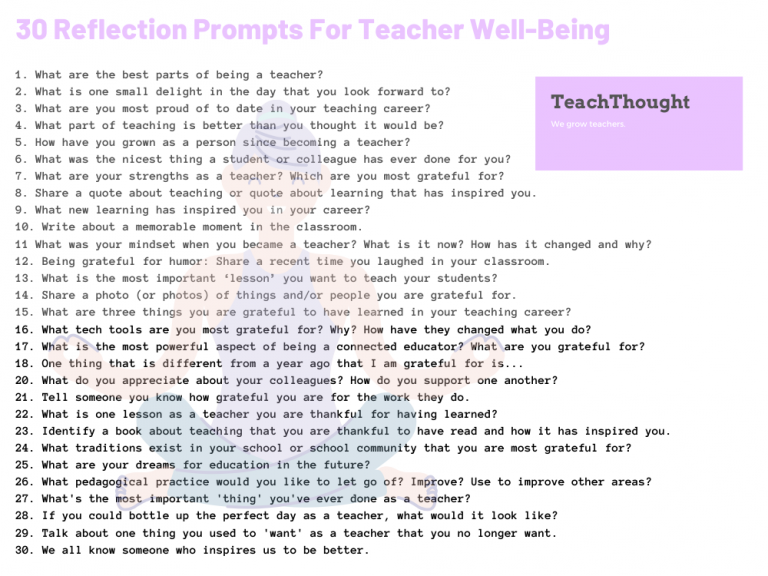 30 Reflection Prompts For Teacher Well-Being